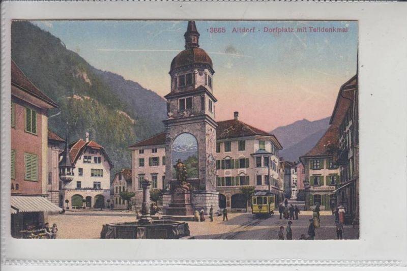 CH 6460 ALTDORF, Dorfplatz Telldenkmal - Strassenbahn - Tram
