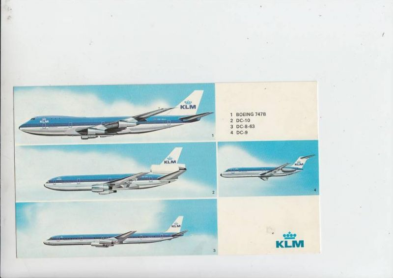 FLUGZEUGE - GROSS - AK 23 x 13 cm, KLM BOEING 747B, DC 10, DC 8-63, DC 9