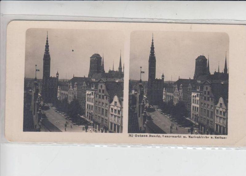 DANZIG, Langemarkt m. Marienkirche und Rathaus, Stereo-Photo