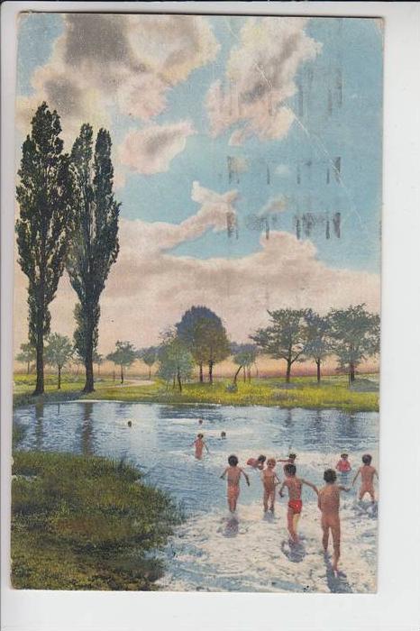 KINDER - Badeszene, 1930, Photochromiekarte