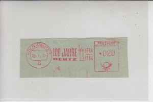 5000 KÖLN, POSTGESCHICHTE, Freistempler 1964 Köln-Deutz, 100 Jahre Deutz Motorenwerk
