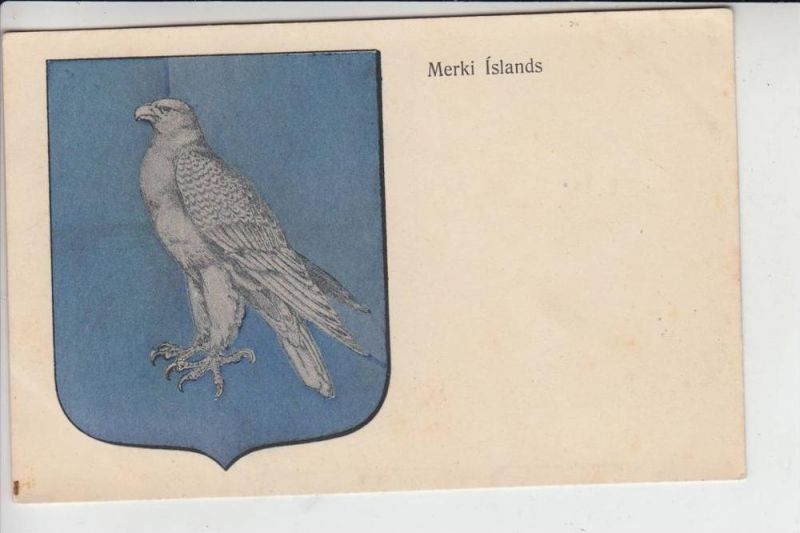 ISLAND , Wappen Merki Islands, early card - undivided back