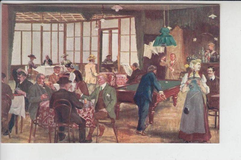 CH 6390 ENGELBERG, Künstler-Karte Restaurant Bierlialp - Billard