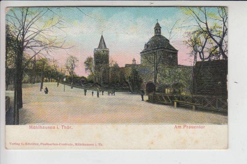 0-5700 MÜHLHAUSEN, Am Frauentor, RELIEF-Karte, 1908, Briefmarke fehlt