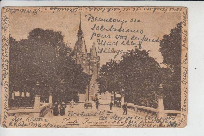 NL - OVERIJSSEL - ZWOLLE, Sassenpoort met brug, 191..., stamp missing