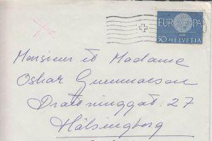 SCHWEIZ - ZUMSTEIN 373 / MICHEL 720 Einzelfrankatur, 8.10.1960 nach Schweden