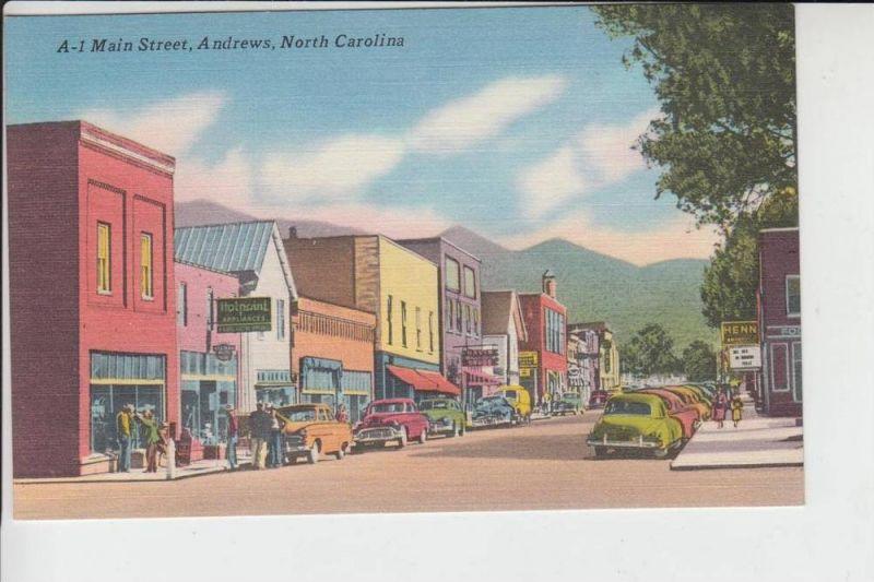 USA - NORTH CAROLINA - ANDREWS, Main Street, Linen postcard