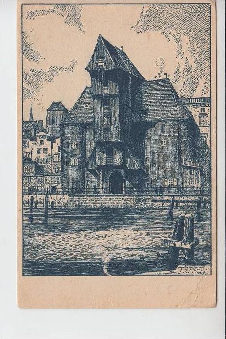 DANZIG, Krahntor - Künstler-Karte W.Lenz