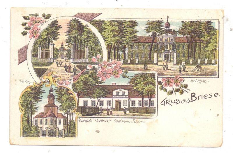 NIEDER - SCHLESIEN - BRIESE / BRZEZINKA, Kreis Oels, Lithographie, Gasthaus, Schloss, Kirche