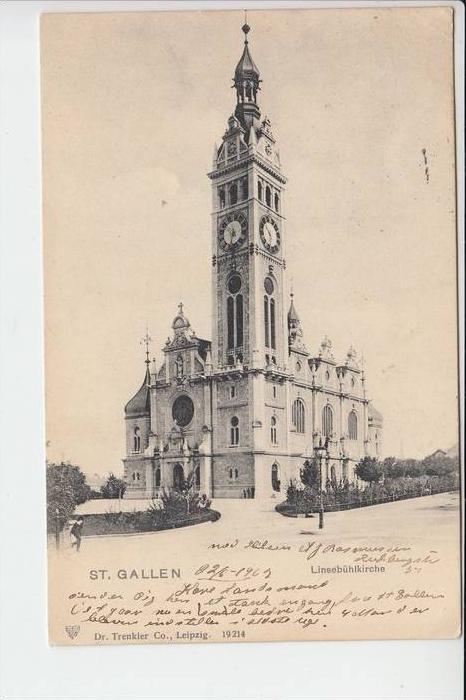 CH 9000 SANKT GALLEN, 1902, Linsebühlkirche, Briefmarke fehlt