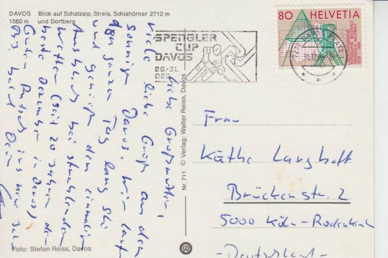 SPORT - EISHOCKEY - Spengler - Cup - Davos 1988, Werbestempel