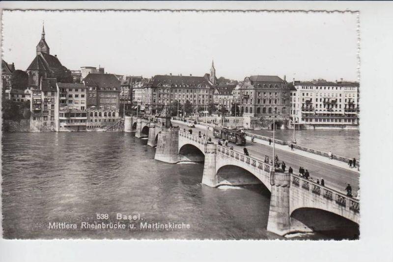 CH 4000 BASEL, Mittlere Rheinbrücke & Martinskirche
