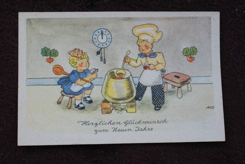 KINDER - CHILDREN Neujahrskarte, Happy New Year, Künstler MO