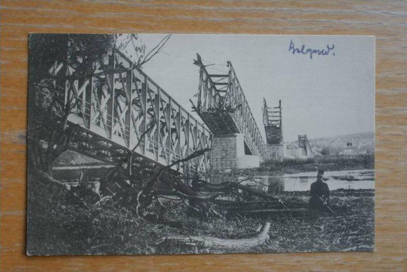 SRB - BELGRAD, Serbien, zerstörte Eisenbahnbrücke Strecke Semlin-Belgrad, 1.Weltkrieg