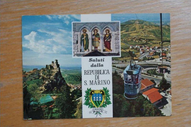 RSM - SAN MARINO, 3-Bild-Karte & Wappen