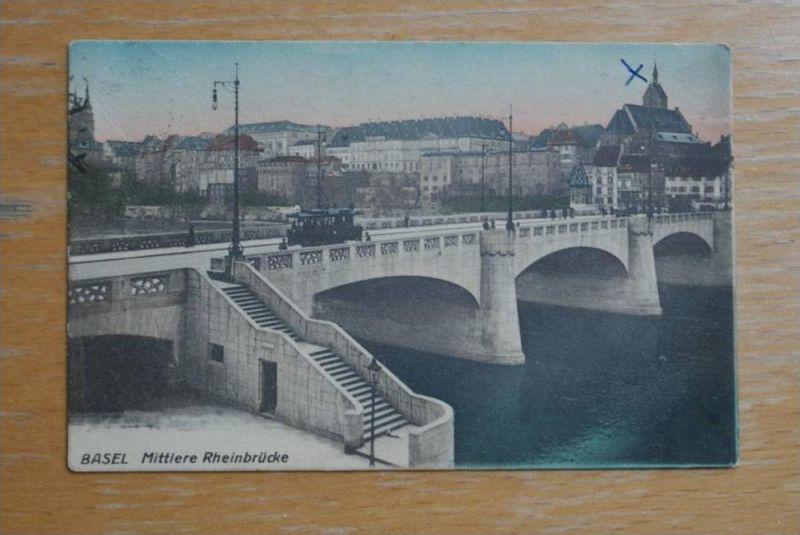 CH 4000 BASEL, Mittlere Rheinbrücke mit Strassenbahn - Tram, Kugelschreiberkreuz