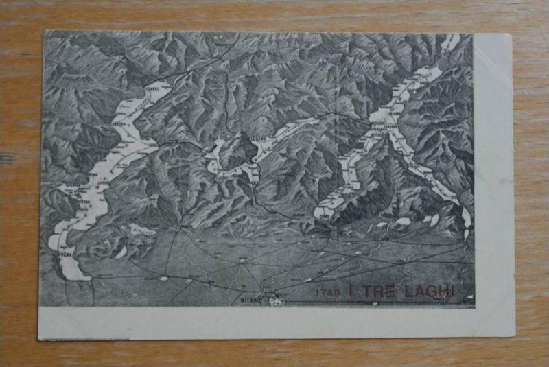 I Tre Laghi, Lombardia, Norditalien, Landkarte - Map