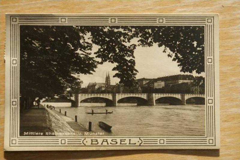 CH 4000 BASEL, Mittlere Rheinbrücke mit Münster