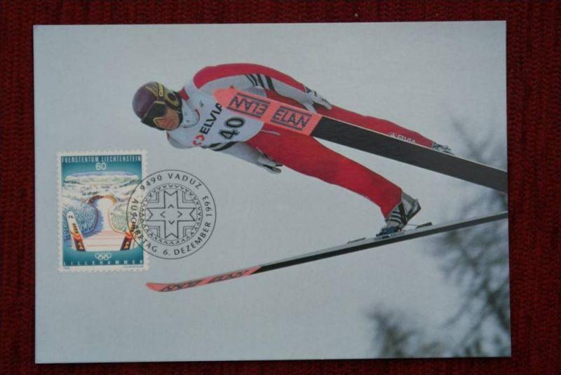 SPORT - Wintersport - Skispringen,Maximum-Karte, Liechtenstein zur Olympiade 1994 Lillehammer
