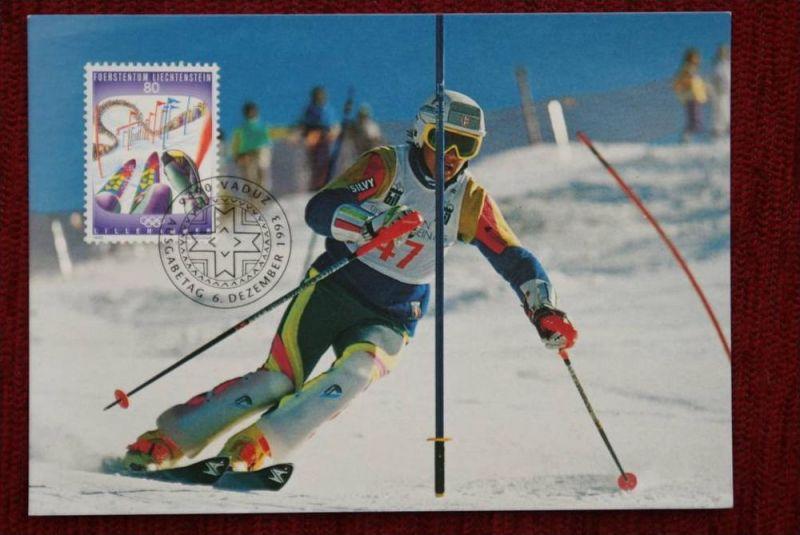 SPORT - Wintersport - Skillaufen - Slalom, Maximum-Karte, Liechtenstein zu Olympiade 1994 Lillehammer
