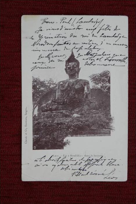 LAOS - Un  BOUDDHA dans la brousse, Budda, kl. Einriusse, - AF -