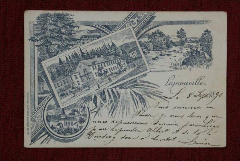 B 4960 MALMEDY - SCHÖNENTHAL - ENGELSDORF / Ligneuville, Lithographie1898, Dreifarbenfrankatur