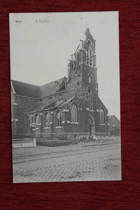 B 4430 ANS, Zerstörungen 1.Weltkrieg, L'Eglise, Abs.: Kais.Etap.Telegr. Amt Verviers