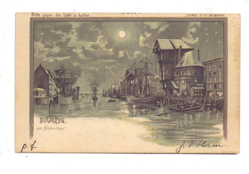 DANZIG - Am Krahntor, Halt gegen das Licht / Hold to Light, LUNA Nr.54, Bahnpost 1900