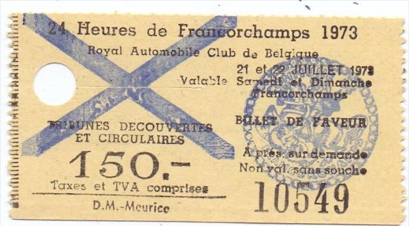 SPA FRANCORCHAMPS, 4 Eintrittskarten, 1972 - 1977
