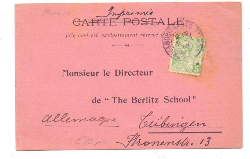 MONACO - The Berlitz School of Languages, Monte-Carlo, 1907, Firmen-Karte