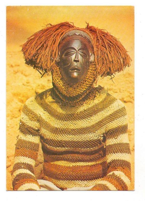 VÖLKERKUNDE / Ethnic - ANGOLA, Dancarino quioco com mascara de madeira, TAAG-advertising card