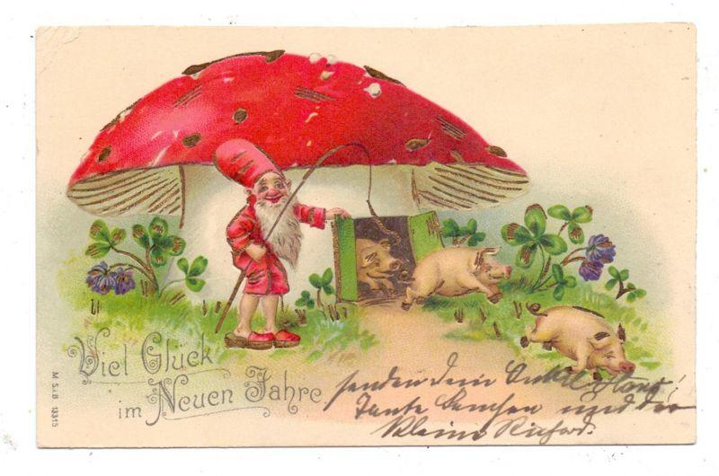 PILZE / Mushrooms / Champignons / Funghi, Zwerg mit Pilzhaus und Glücksschweinen, Präge-Karte / embosed / relief, 1903
