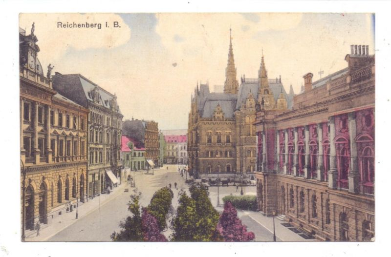 BÖHMEN & MÄHREN - REICHENBACH / LIBEREC,  Rathaus und Umgebung, 1920