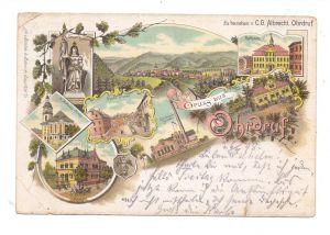 0-5807 OHRDRUF, Lithographie 1898, 8 Ansichten, Eckknicke