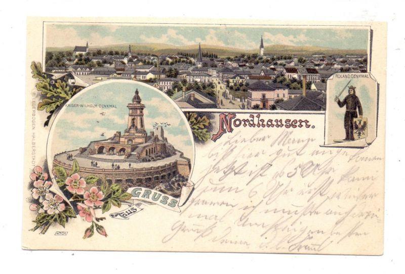 0-5500 NORDHAUSEN, Lithograhie 1902, Panorama, Roland-Denkmal, Kaiser-Wilhelm-Denkmal