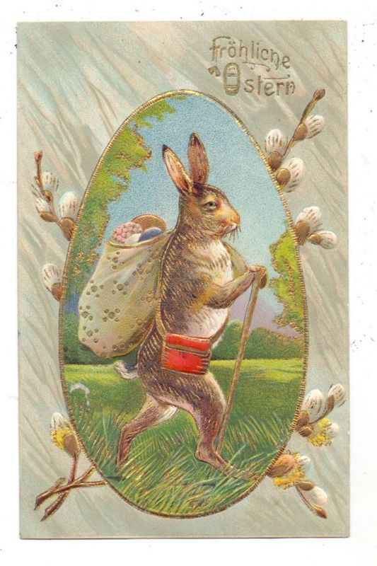 OSTERN - Hase mit Wanderstab und Eierkorb, 1910, Präge-Karte, embossed, relief
