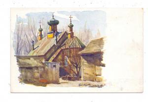 UKRAINE - WOLHYNIEN, Wolhynische Städtebilder, Dorfansicht, Russisch Orthodoxe Kirche, Künstler-Karte Ltd. Emil Weiss