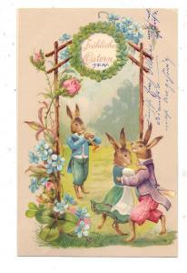 OSTERN - Musikant und tanzendes Hasenpaar, 1908, Präge-Karte, embossed, relief