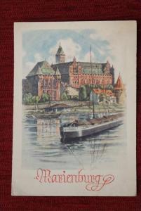 WESTPREUSSEN - MARIENBURG, Künstler-Karte, minimal gedunkelt