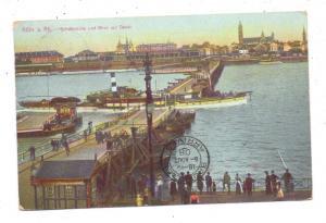5000 KÖLN, Schiffsbrücke, Blick auf Deutz, Rhein - Binnenschiff, Frachtschiff, 1908