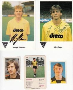 SPORT - FUSSBALL - Alemania Aachen 6 Fussballbilder, Gresens doppelt, 5 mit Unterschrift