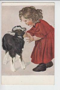 TIERE - ZIEGEN-Geiten-Goats-Chevres - mit Kind, Künstler-Postkarte