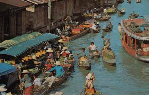 THAILAND - SIAM, Bangkok, Floating market Wat-Sai