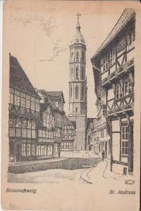 3300 BRAUNSCHWEIG, Künstler-Karte St.Andreas 1952