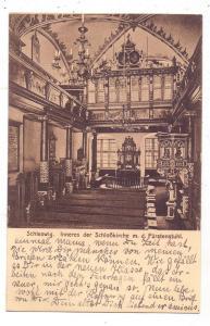 2380 SCHLESWIG, Inneres der Schloßkirche mit dem Fürstenstuhl, 1914