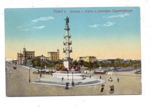 A 1000 WIEN, Tegetthoffdenkmal am Prater, Tram, Beschreibung auf Tschechich, 1914