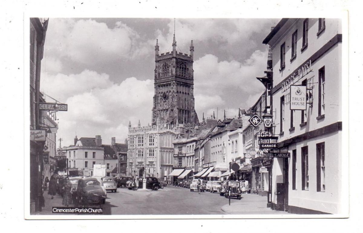 GLOUSTERSHIRE - CIRENCESTER, Market Square, Parish Church, Fleece Hotel, Oldtimer 0