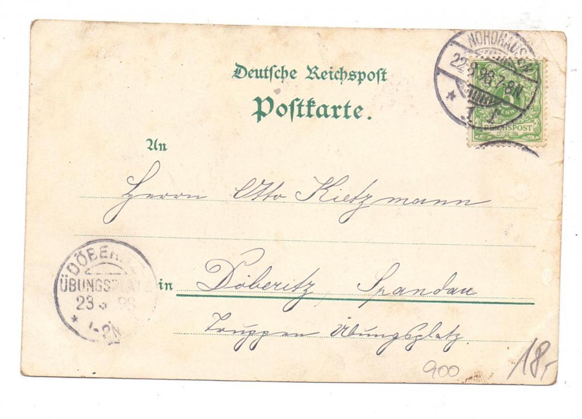 0-5500 NORDHAUSEN, Lithograhie 1898, Gruss aus Alt-Nordhausen, Eckknick 1