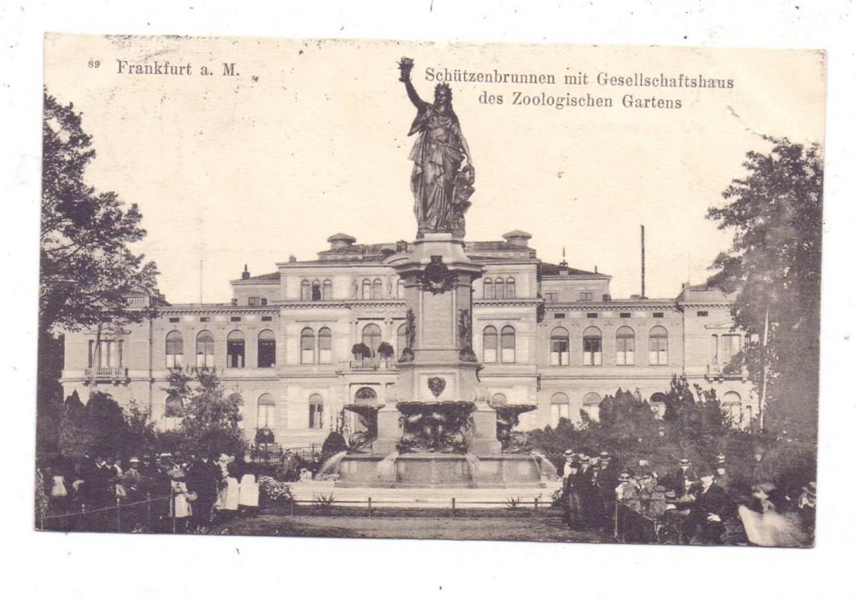 6000 FRANKFURT, Schützenbrunnen mit Gesellschaftshaus des Zoologischen Gartens, Zoo, 1907 0