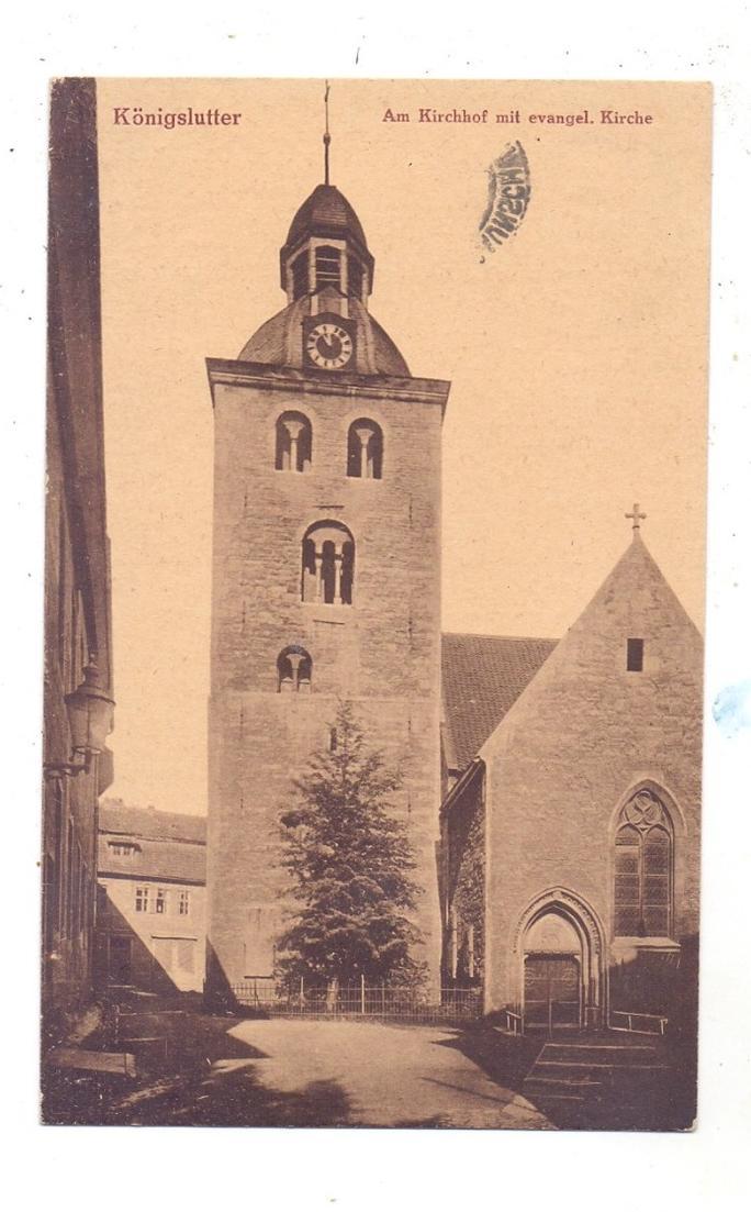3308 KÖNIGSLUTTER, Am Kirchhof mit evangelischer Kirche, 1924 0